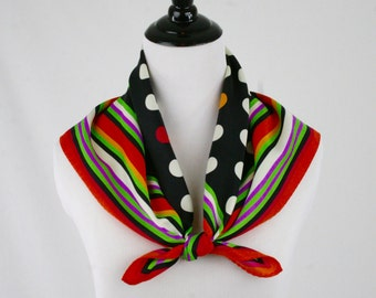 Vintage Bright Colors Dots and Stripes Square Scarf by Totes