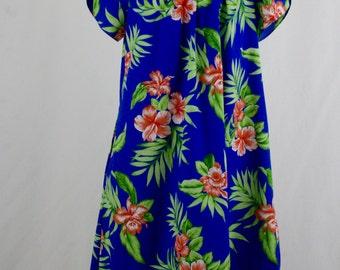 1980s Blue Floral Hawaiian Dress Mu Mu by Royal Creations M