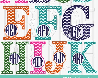 Monogram SVG set of Chevron Letters-Includes A through Z SVG PNG jpg formats all included Chevron Letter svg {no circle monograms included}