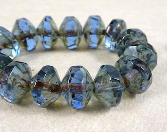 Czech Beads, Czech Glass Beads, Saucer - Denim Sapphire Blue (SAT/N-0449) - 7x11mm - Qty 6
