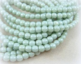 Czech Beads, 4mm Round Beads, 4mm Druk Beads - Light Green Luster  (D4/N-020) - Qty 50