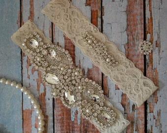 Ivory or White Wedding Garter, Rhinestone And Pearl Wedding Garter Set,  Rhinestone Bridal Garter Belt, Vintage Style Bridal Garter Set, R34