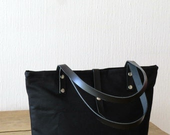 Waxed Canvas Bag Tote Bag, Purse, Canvas and Leather, Black Medium Canvas Tote, Handbag Shoulder Bag, Everyday Bag