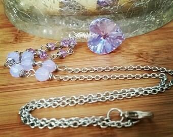 Purple Crystal heart necklace - Swarovski heart necklace - purple heart - lavender - swarovski crystal - one of a kind - heart jewelry