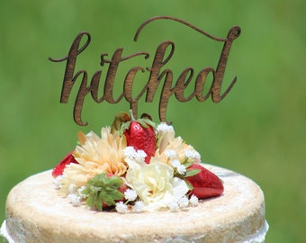 Rustic hitched Cake Topper - Rustic Country Chic Wedding
