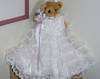 "Vintage Collectible Bear Wearing a White Wedding Dress ""I Do"""