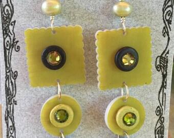 Celery Green Dangle Earrings