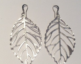 SALE Large SILVER Leaf Earrings, gifts for her, Sale earrings, gifts under 20, Lightweight Earrings, Nickel Free, Hypoallergenic