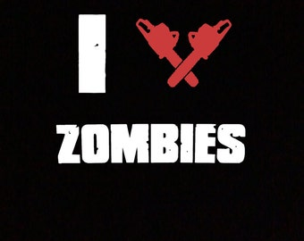 I Heart Zombies with Chainsaws T-Shirt