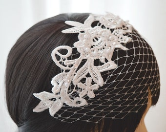 Guipure lace fascinator with embellishment, wide net, off white