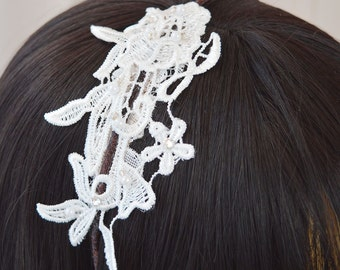 Guipure lace headband with embellishment, off white, cream or brown headband