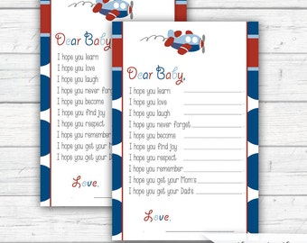 Baby Wishes Fill-in-the-Blank Card, Airplane Baby Shower, Dear Baby Cards, Red and Blue, Baby Shower, Sprinkle, INSTANT DOWNLOAD - Printable