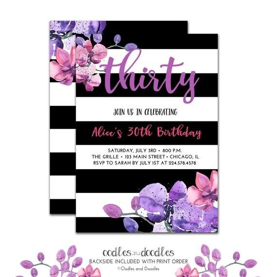 Black white birthday invitation boho 30th birthday 40th il570xn filmwisefo