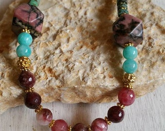 Rhodonite and amazonite necklace, Cranberry beaded necklace , Fall colors jewelry, Cosy cranberry necklace, Marsala necklace,Unique jewelry