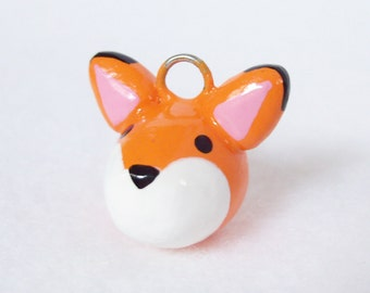 Cute Orange Fox Charm - Handcrafted Polymer Clay Charm - Charm for Charm Bracelets, Earrings, Cell Phone Charm
