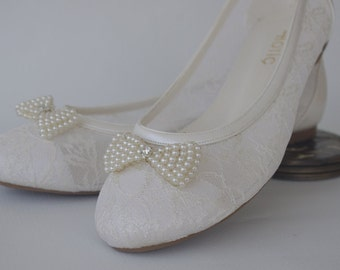 Wedding shoes, Bridal shoes,  Handmade  Lace  flat wedding shoes  #1006