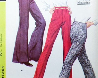 1960s MOD Pants Pattern McCall's 9517 High Waist Bell Bottoms Stovepipe Flare Leg Waist 29 Vintage Sewing Pattern