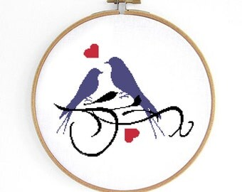 Love Birds Cross Stitch Pattern