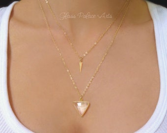 Gold Triangle Necklace, Chevron Necklace Gold, Multi Layer Necklace, Pendant Necklace, Crystal Quartz Necklace, Modern Statement Jewelry