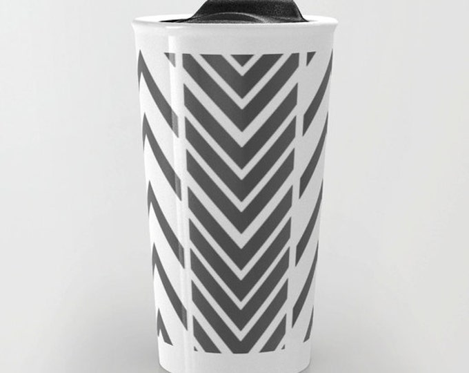 Travel Mug - Black and White Arrow Design - Coffee Travel Mug - Hot or Cold Travel Mug - 12oz Travel Mug - Made to Order