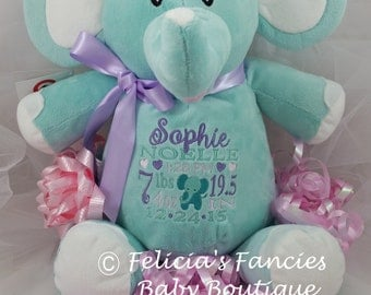 Personalized Birth Announcement Plush Stuffed Animal Elephant Baby Cubbie with Elephant Design, in Pink, Blue, Lavender or Mint Green