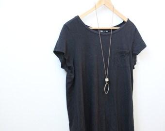 Simple black cotton t-shirt dress
