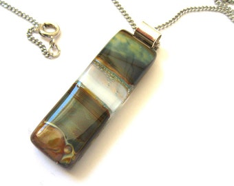 Blue, grey & brown fused glass pendant, statement necklace, silver, For Mum, wood party jewellery, for her, hostess gift NL067