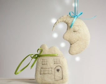 Needle Felted Sweet Dreams Ornaments Set - Little Moon, Cortege And Heart - Ornaments For Baby Room Decor - Felted Christmas Ornaments