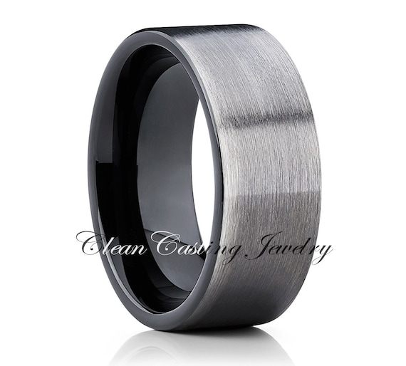 Gun Metal Tungsten Wedding Band,Mens Tungsten Ring,Men Tungsten Carbide,Brushed Polish,Pipe Cut,Anniversary,Men Tungsten Band