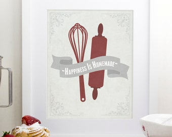 Happiness is Homemade, Kitchen Print, Home Decor Wall Art, Baking Wall Art, Gift For Bakers, Red Kitchen Art, Homemade Quote, Gift for Cooks