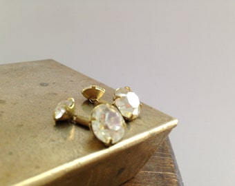 Vintage Cufflinks Golden brass cuff links with rhinestones Tiny rhinestones cufflinks Gift for him or her