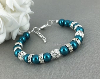 Teal Pearl Bracelet, Teal Bracelet, Teal Earrings, Bridesmaids Jewelry, Bridesmaids Bracelet, Teal Wedding, Bridal Party Jewelry