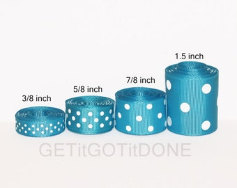 Turquoise Polka Dot Grosgrain Ribbon 5 Yards (You choose the width: 3/8, 5/8, 7/8 or 1.5 Inch)