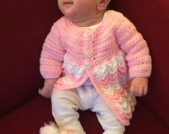 Handmade Crochet Sweater, Hat, Booties -- Meow!