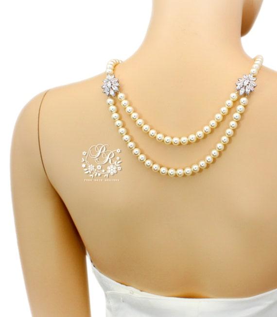 Wedding Necklace Swarovski Pearl Cubic Zirconia Necklace Bridal Jewelry Wedding Jewelry Wedding Accessory Bridal Necklace Statement Sasa
