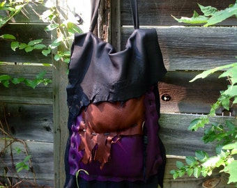 Woodsprite~ Drippy Eclectic Tri-Colored Leather Shoulder Bag~ Edgy~ Woodland~ Organic Feel~ Free Zip Pouch