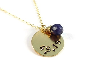 Custom Date Necklace, Personalized Necklace, Custom Necklace, Gold Necklace, Engagement Date, Wedding Date, Birthday Necklace