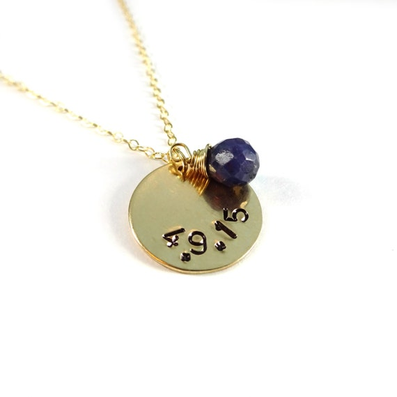 Custom Hand Stamped Date Necklace with Gemstone