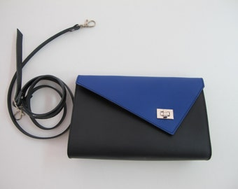 Small Leather clutch bag with removable strap. Available in many colors