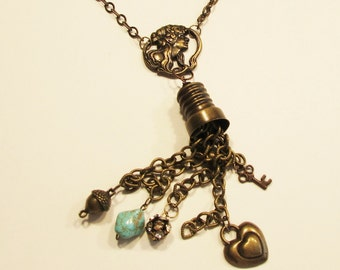 necklace, thimble, bronze, dangles, chains, fun and funky, C, jewelry