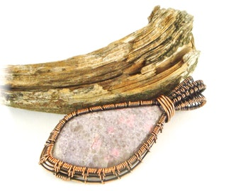 Wire Wrapped Woven Lepidolite Pendant Antiqued Copper