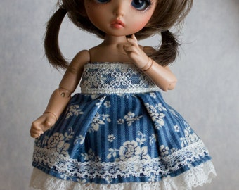Dark blue lace dress set for Pukifee or similar sized dolls