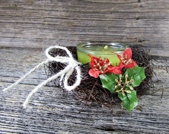 Christmas Candle Ring, Red Poinsettia Candle Ring, Wedding Candle Ring, Winter Holiday Wedding Centerpiece, Rustic Wedding Decor Decoration