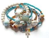 Brown,Teal, White, Cross Beaded Bracelet, Bracelet Stack, Stretchy,Boho, Womens, Custom, Handmade, Beaded Jewelry