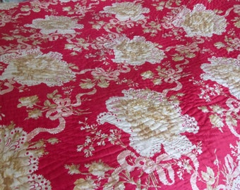 Antique hand-stitched Durham fabric Quilt ~ bedspread Floral reds and ribbon ~ stripe reverse with glaze