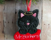 Personalized Cat Memorial Ornament, Acrylic Felt with Custom Embroidered Name on Fish Shape, Great Christmas Gift, Quick Ship, Made in USA