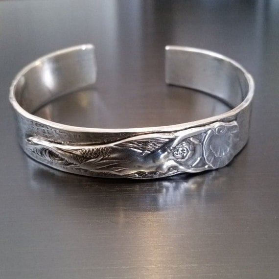 Sterling Art Nouveau Mermaid Cuff