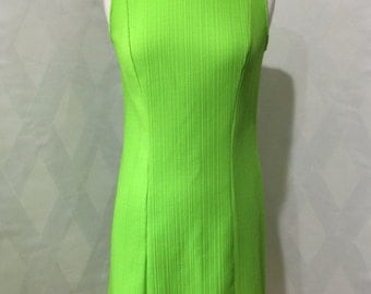 Vintage 1970s Electric Green Mod Scooter Girl Mini Dress