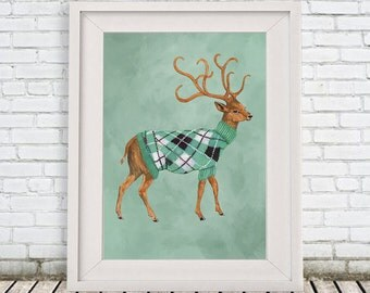 Winter Deer Print, Antler, Stag, Deer Art, Deer Art Print, Deer Artwork, Wall Decor, Wall Art, Deer Wall Hanging, Gift For Men