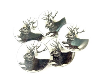 "Jackelope Sewing Buttons.  5 Handmade Buttons. 3/4"" or 20 mm round."
